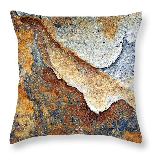 Amble Throw Pillow featuring the photograph Rusty Rock Colours by Mark Sunderland