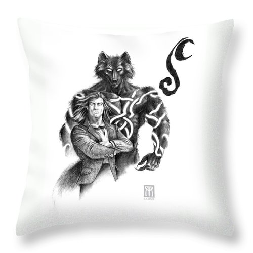 Werewolf Throw Pillow featuring the drawing Ryan With Werewolf by Melissa A Benson