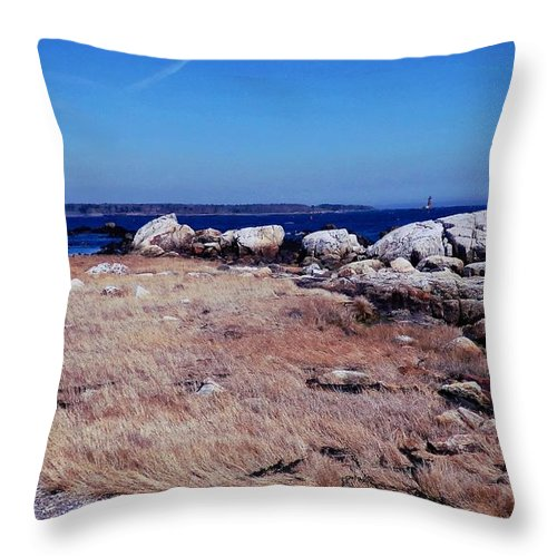 Landscape Throw Pillow featuring the photograph Rye Nh Shoreline by Marcia Lee Jones