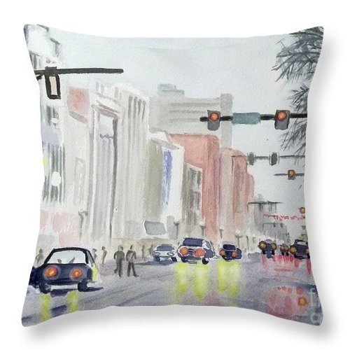 City Scape Throw Pillow featuring the painting S. Main Street In Ann Arbor Michigan by Yoshiko Mishina