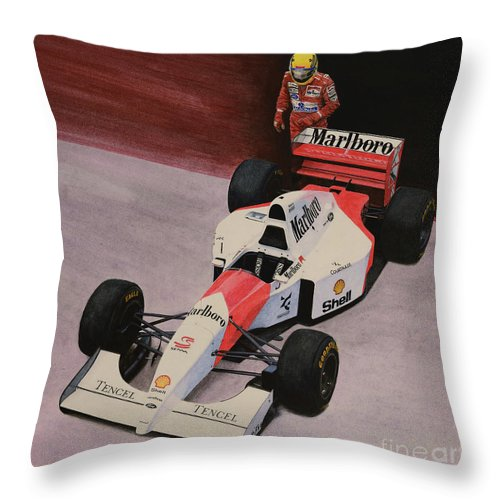 Formula One Throw Pillow featuring the painting S by Oleg Konin