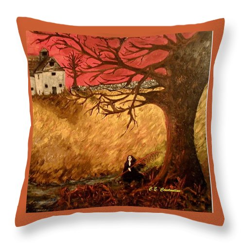Fall Throw Pillow featuring the painting Sabbath Harvest by C E Constantine