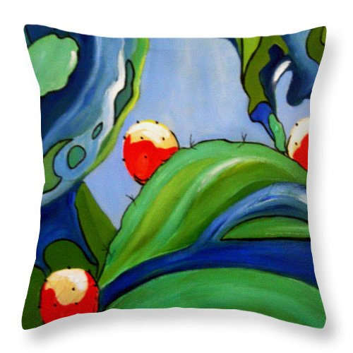 Prickly Pear Throw Pillow featuring the painting Sabra by Gloria Dietz-Kiebron