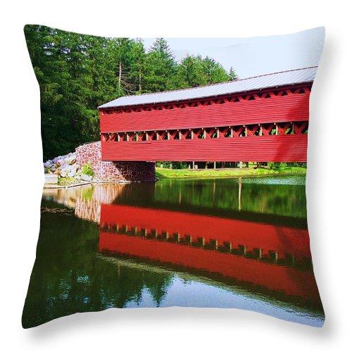 Sachs Bridge Throw Pillow featuring the painting Sachs Bridge by Eric Schiabor