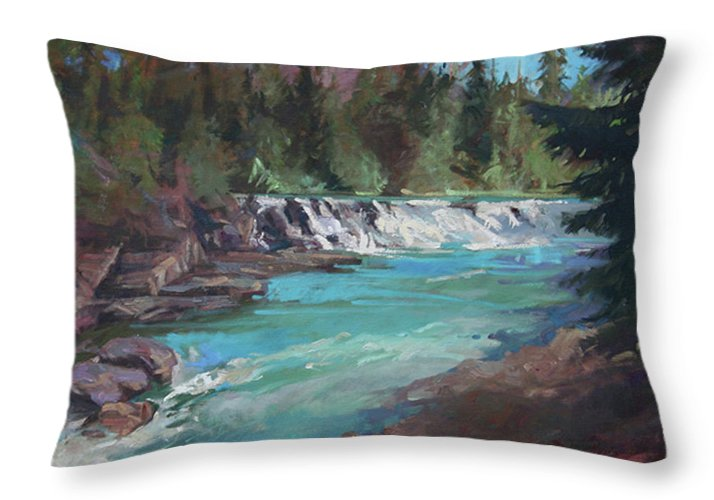 Glacier National Park Throw Pillow featuring the painting Sacred Dancing Cascade by Betty Jean Billups
