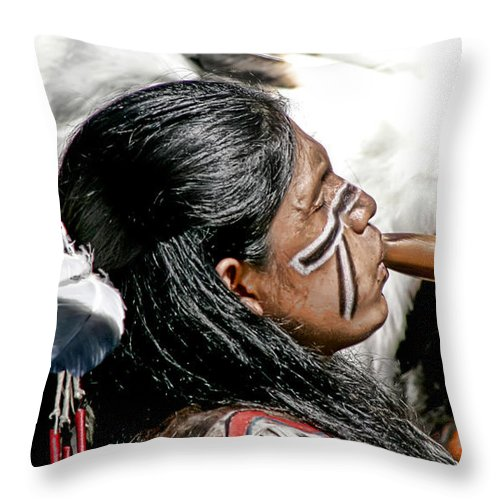 American Indian Throw Pillow featuring the photograph Sacred Flute by Donovan Torres