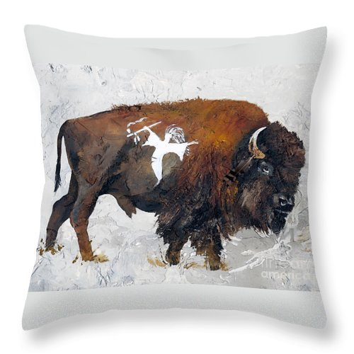 Southwest Art Throw Pillow featuring the painting Sacred Gift by J W Baker