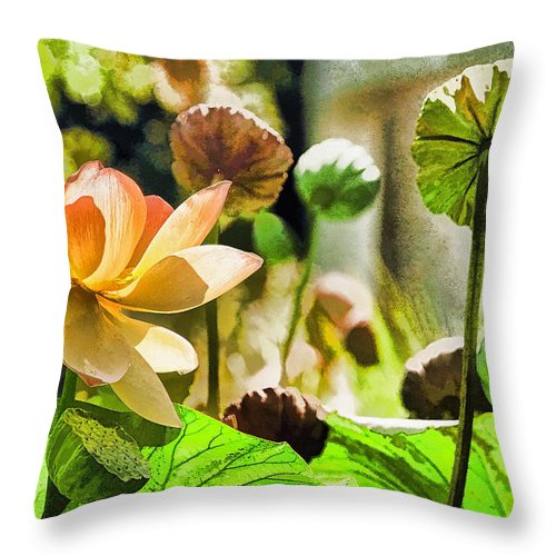 Current Throw Pillow featuring the photograph Sacred Lotus Painted Series by Geraldine Scull