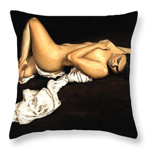 Nude Throw Pillow featuring the painting Sacred by Richard Young