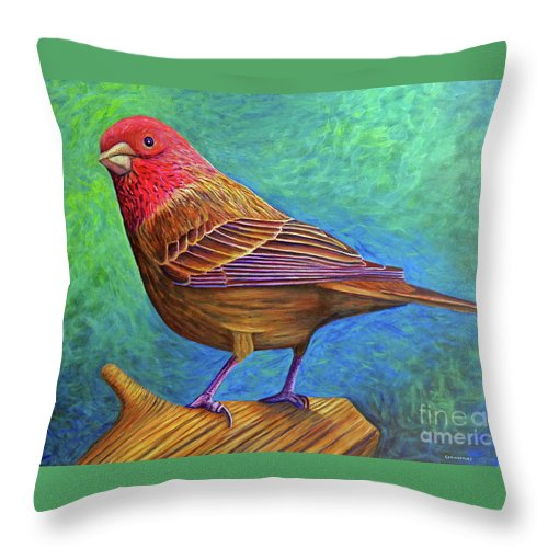 Bird Throw Pillow featuring the painting Sacred Space by Brian Commerford