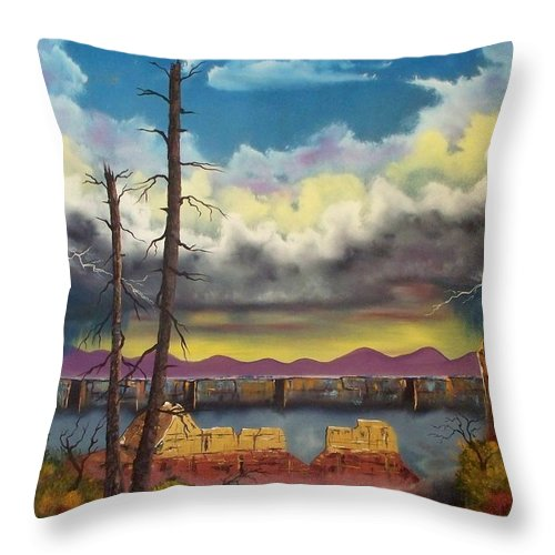 Painting Throw Pillow featuring the painting Sacred View by Patrick Trotter