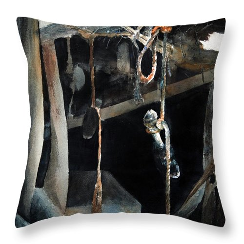 Abstract Throw Pillow featuring the painting Sacrifice by Rachel Christine Nowicki