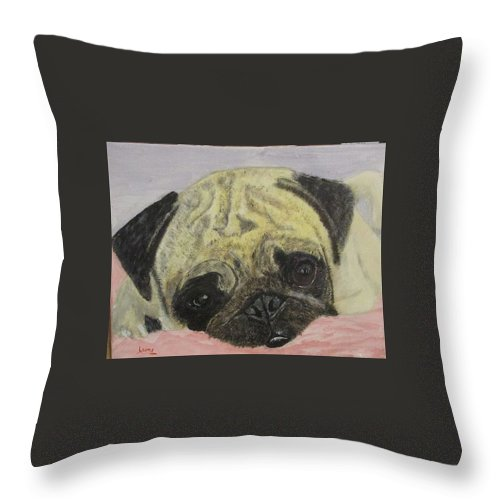 Dog Throw Pillow featuring the painting Snugly Pug by Tom Wheeler