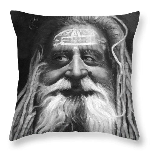 Sadhu Throw Pillow featuring the painting Sadhu by Enzie Shahmiri