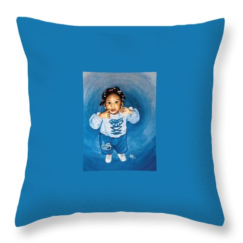 Child Throw Pillow featuring the pastel Sadie by Gale Cochran-Smith