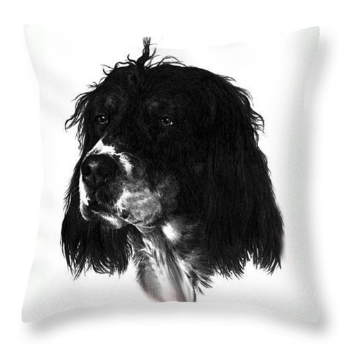 Portrait Throw Pillow featuring the drawing Sadie by Rachel Christine Nowicki