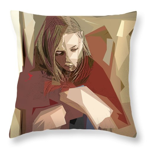 Girl Throw Pillow featuring the photograph Sadness by Jacqueline Milner