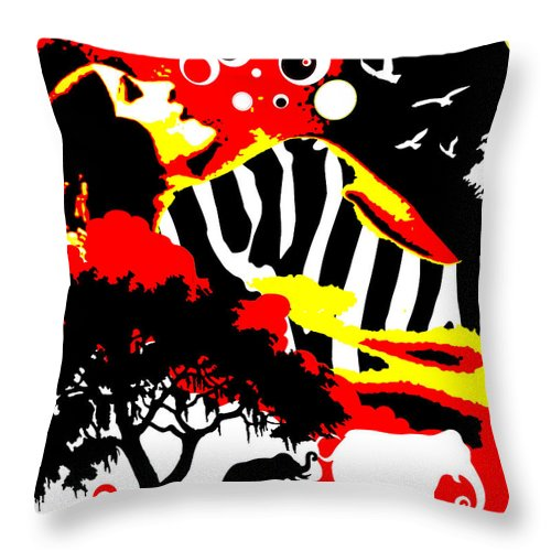Nostalgic Seduction Throw Pillow featuring the digital art Safari Dreams by Chris Andruskiewicz