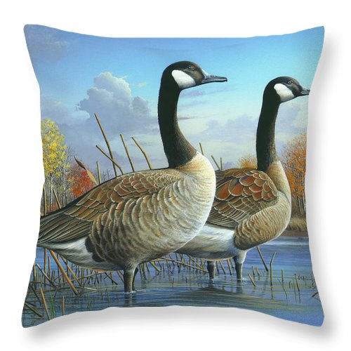 Canada Goose Throw Pillow featuring the painting Safe From Harm by Mike Brown