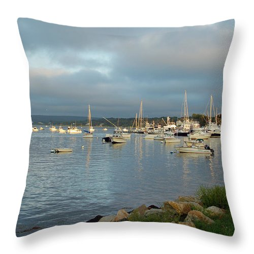 Plymoth Harbor Throw Pillow featuring the photograph Safe Harbor - Plymoth by Suzanne Gaff