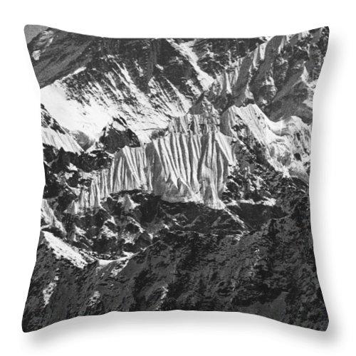Sagarmatha Throw Pillow featuring the photograph Sagarmatha Bw by Omar Shafey