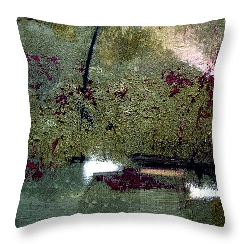 Abstract Throw Pillow featuring the painting Sage And Plum by Ruth Palmer