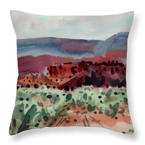 Southwestern Landscape Throw Pillow featuring the painting Sage Sand And Sierra by Donald Maier