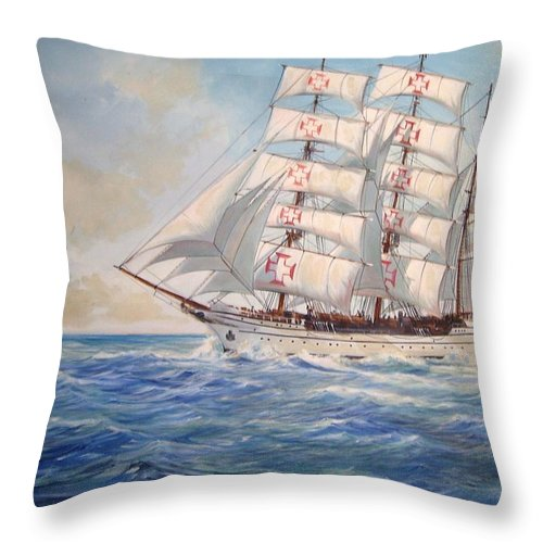 Tall Ship Throw Pillow featuring the painting Sagres by Perrys Fine Art
