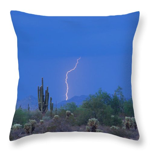 Lightning Throw Pillow featuring the photograph Saguaro Desert Lightning Strike Fine Art by James BO Insogna