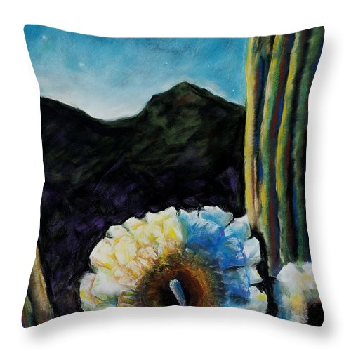 Desert Throw Pillow featuring the painting Saguaro In Bloom by Frances Marino