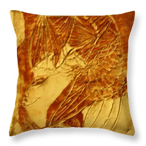 Jesus Throw Pillow featuring the ceramic art Sail - Tile by Gloria Ssali