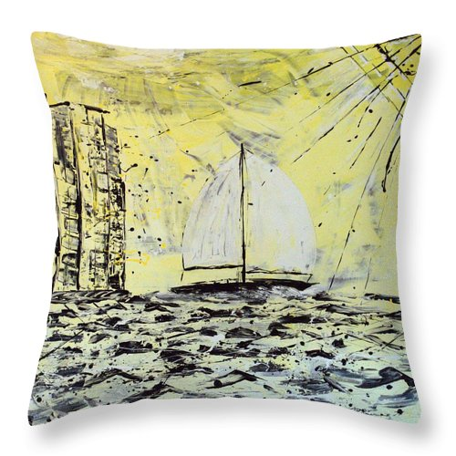 Abstract Throw Pillow featuring the painting Sail And Sunrays by J R Seymour