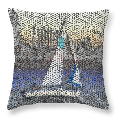 Sail Throw Pillow featuring the photograph Sail At Sunset by Tim Allen
