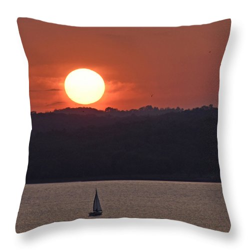 Sunset Sail Throw Pillow featuring the photograph Sail Away by Don Spenner