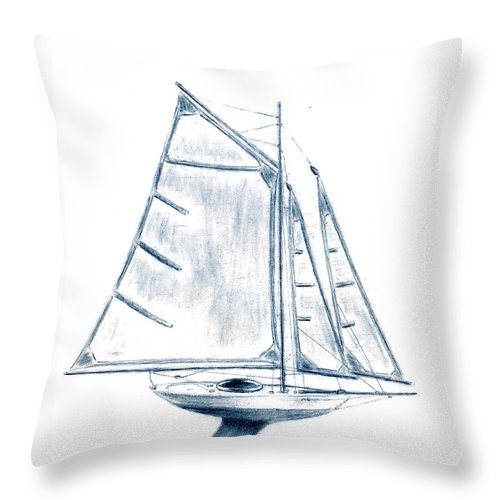 Boat Throw Pillow featuring the drawing Sail Boat by Michael Vigliotti