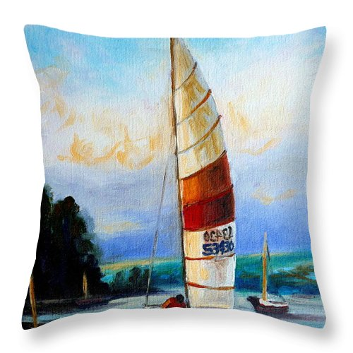 Sail Boats On The Lake Throw Pillow featuring the painting Sail Boats On The Lake by Carole Spandau