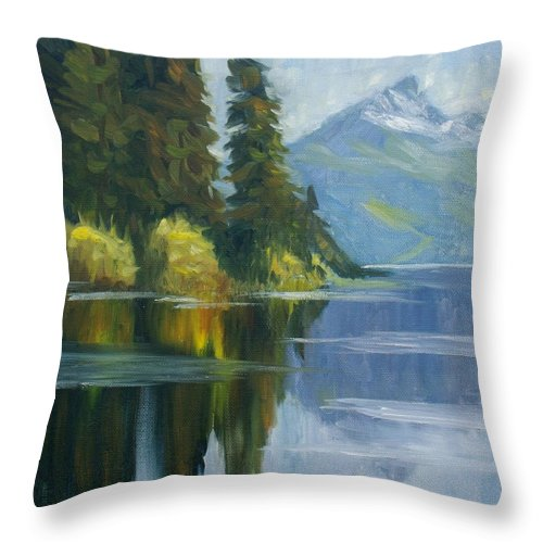 Landscape With Reflection Throw Pillow featuring the painting Reflection by Elena Sokolova