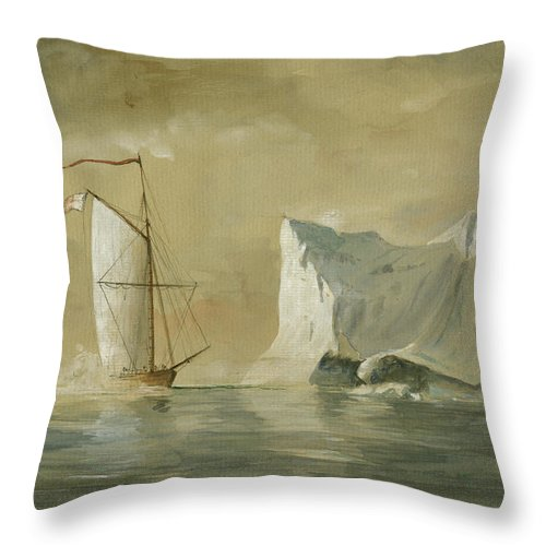 Sail Throw Pillow featuring the painting Sail Ship At The Ice by Juan Bosco