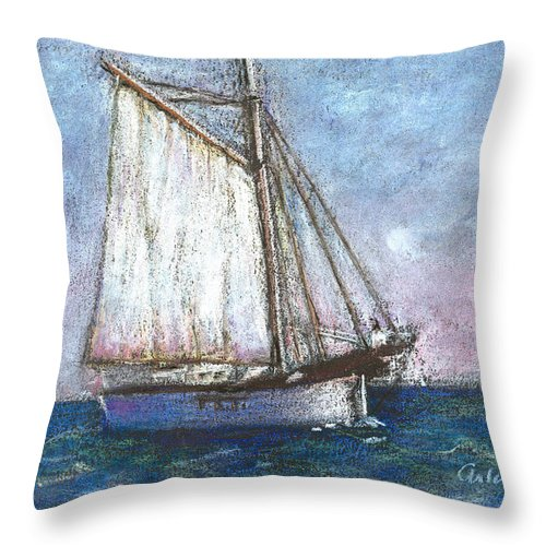 Boat Throw Pillow featuring the pastel Sailboat by Arline Wagner