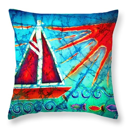 Sailboat Throw Pillow featuring the painting Sailboat In The Sun by Sue Duda
