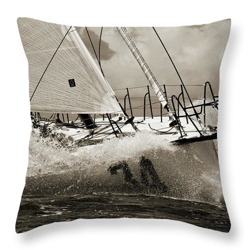 Sailboat Throw Pillow featuring the photograph Sailboat Le Pingouin Open 60 Sepia by Dustin K Ryan
