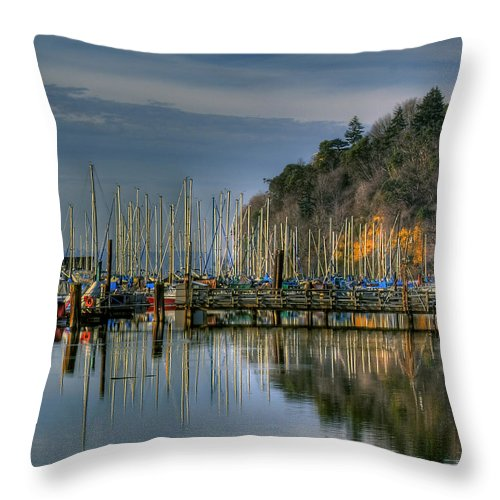 Boats Throw Pillow featuring the photograph Sailboat Reflections by David Patterson