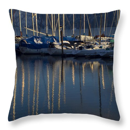 Mast Throw Pillow featuring the photograph Sailboat Reflections by Idaho Scenic Images Linda Lantzy