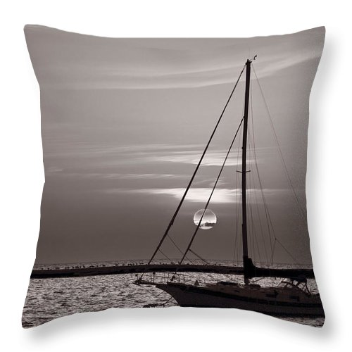 Boat Throw Pillow featuring the photograph Sailboat Sunrise In B And W by Steve Gadomski