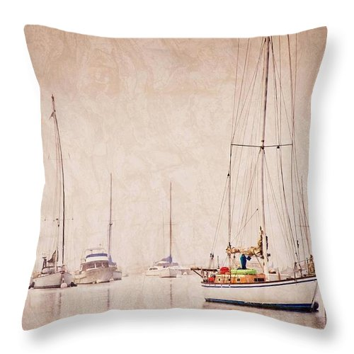 Sailboats Throw Pillow featuring the photograph Sailboats in Morro Bay Fog by Zayne Diamond Photographic