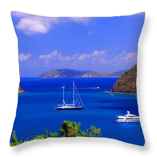 Caribbean Island Throw Pillow featuring the photograph Sailboats In St. John's by Gary Wonning