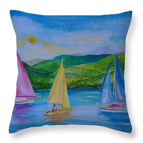 Sailboats Throw Pillow featuring the painting Sailboats by Laura Rispoli