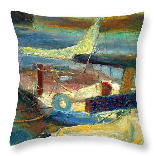 Dornberg Throw Pillow featuring the painting Sailboats Moored by Bob Dornberg
