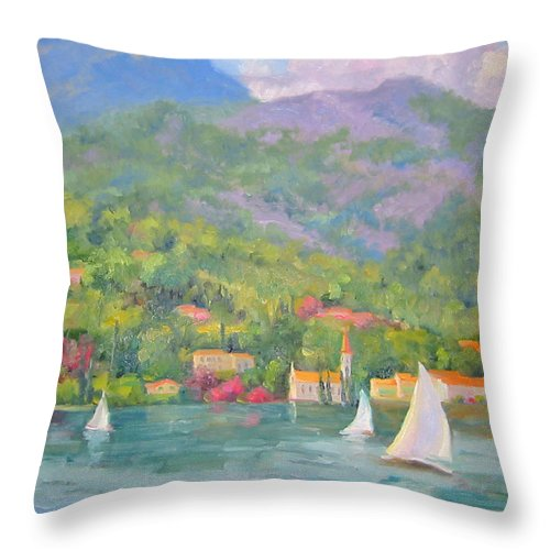 Seascape Throw Pillow featuring the painting Sailing - Lake Como by Bunny Oliver