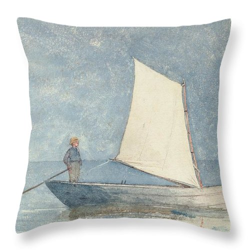 Boat Throw Pillow featuring the painting Sailing A Dory by Winslow Homer